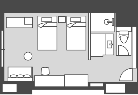 East Building Western-style Twin Room Floor Plan