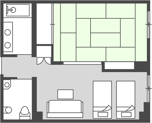 West Building Handicap-Accessible Room Floor Plan